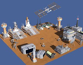 Low Poly Cartoony Space Colony Pack 3D asset