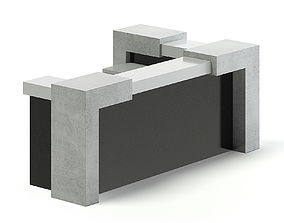 3D Black and Grey Reception Desk