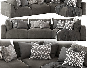Globewest Cove Seamed Sofa Grey 3D
