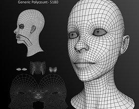 3D model low-poly Human Female Head Low Poly Base Mesh