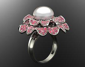 ruby FLOWER RING 3D print model