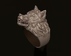 3D print model angry wolf ring