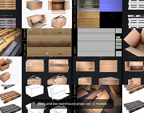 pallet and box warehouse props set 3D model