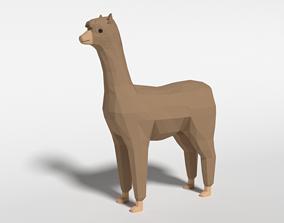 3D asset Low Poly Cartoon Alpaca