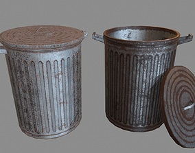 litter Trash Can 3D model game-ready