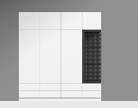 3D model White Wood Wardrobe with leather sit by
