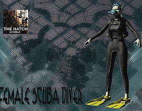 3D model Female Scuba diver