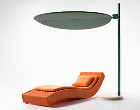 Wave Chaise with Ombra Sunshade 3D model