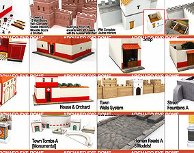 Roman Town Buildings and Walls Collection 3D model