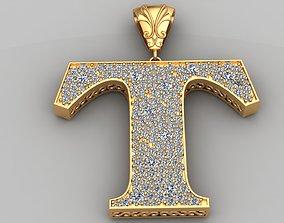 3D print model T Letter Diamond Gold Pendant Necklace