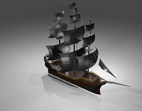 3D model low-poly Low poly pirate ship