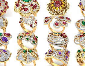 3D Cocktail rings collection 16 rings