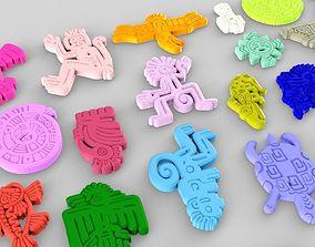 3D model Mayan Animal Symbols