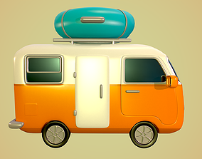 Motorhome with inflatable boat 3D