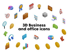 3D asset Pack of icons - Business and office