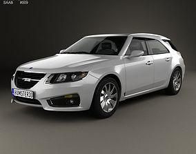 3D Saab 9-5 Sport Combi 2009