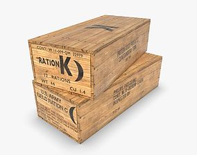 3D model game-ready US K and C Rations wooden crate WWII
