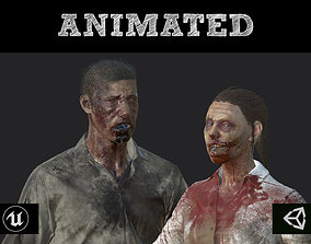 Zombies - Man and Woman 3D asset