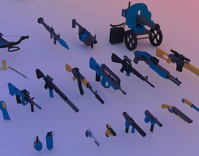 animated Low poly pack guns Animated - AK-47 - M16 - 3