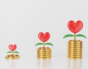 3d money tree plant love or red heart on stack of coin