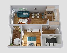 floor plan apartment 3D model