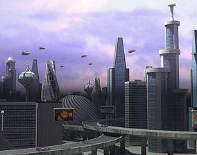 sci fi city 3D asset