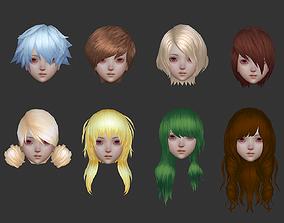 3D asset hair hair style girl short hair cape pig-tail 2