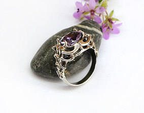Sculpted ring in a fantasy or vintage 3D print model