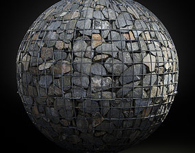 3D model Seamless PBR Scanned Gabion Stone Wall 1x1m
