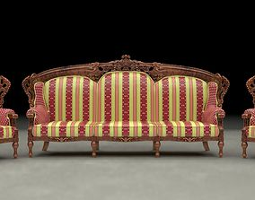 3D asset Ethnic Carved Wood Sofa and Armchair