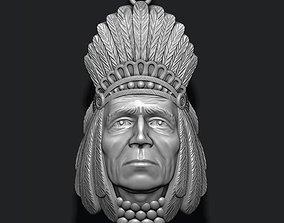 Native American Indian head pendant 3D printable model