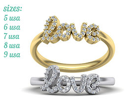 LOVE RING Diamond Delicate Woman ring printable model