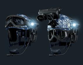Military Helmet Navy Camo Game Ready 3D asset