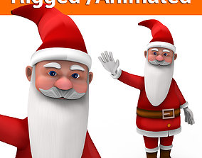 animated game-ready cartoon Santa rigged animated 3D model