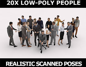 3D asset 20x LOW POLY CASUAL WOMAN BUSINESS MAN PEOPLE 1