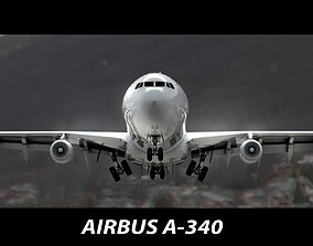 3D animated Airbus A-340