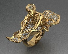 lady ring beauty gold and diamond 3D printable model