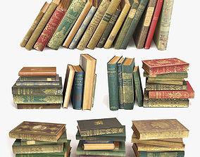 old books on a shelf set 2 3D model