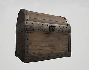Wooden Chest with Metallic Edges 3D asset animated