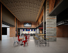 Cinema theatre lobby entrance industrial style 3D model 1
