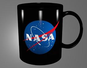 3D NASA black mug
