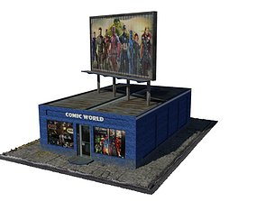 Low Polygon Comic Book Store 3D model game-ready