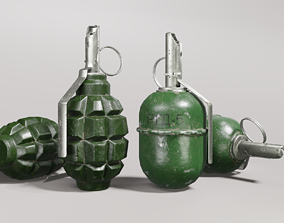 Game-ready grenades F1 and RGD-5 3D model