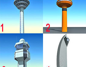 3D model 4 Airline Control Towers