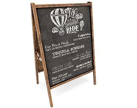 Sidewalk chalkboard- PBR Game-Ready 3D model