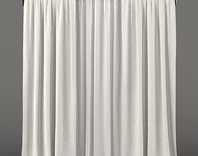 3D model White curtains with white tulle