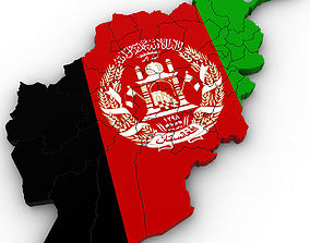 iran 3d Political Map of Afghanistan