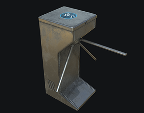 Tripod Turnstile Security Gate PBR 3D asset