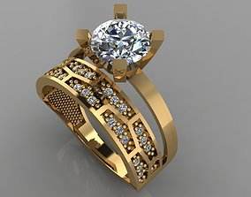 GC GOLD TW0135- Diamond ring 3D printable model