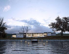 Green Residential Villa Revit Model 3D asset VR / AR ready